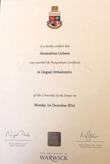 Laurea Ortondonzia Linguale Certification Alexandrina Ciobanu